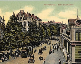Zeevischmarkt, Rotterdam, Netherlands, Vintage  Circa 1918 Unused Color Postcard
