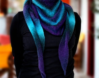 Hand-knitted wool scarf