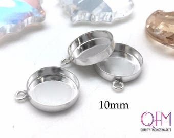 10 pcs Sterling Silver 925 Round Bezel cup 10mm with one loop - Jewelry Basis, Silver Pendant Basis, Silver Bezel Cup