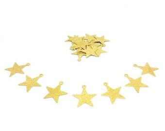 30 charms stars Stardust gold 21x19mm