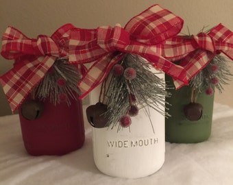Rustic Mason jars Christmas mason jars Christmas Centerpieces Mason jar Christmas decor Holiday mason jars Christmas decorations