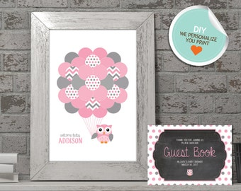 Owl Baby Shower Guest Book, Owl Guest Book, Pink, Gray, Polka Dots (Matches Chalkboard, Branch) | DIY