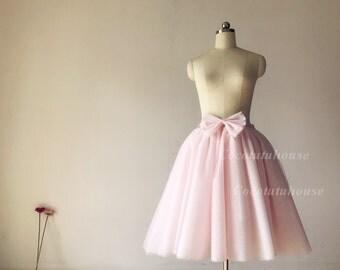 9 layers of Blush Pink Skirt with Bow/Women Tulle Skirt with Bow/ Short Tulle skirt/Wedding Dress Underskirt/ /Bridesmaid/Bachelorette TuTu