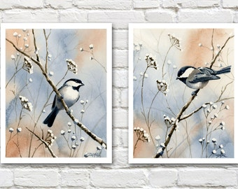 Set of 2 Chickadee Art Prints - Watercolor Painting - Signed by Artist DJ Rogers - Wildlife - Wall Decor