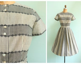 Vintage 1950s Striped Gingham Shirtwaist Dress | Size Large