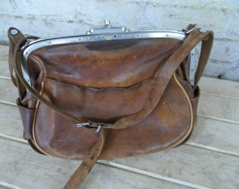 Old French leather bag