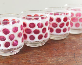 Libbey Glass, Set of 4 Conrad Cranberry Pink Polka Dot Drinking Glasses, Frosted - Pink Dot Pattern- Tumbler Glasses