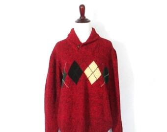 Vintage Woolrich Sweater 90's Wool Blend Sweater Women's Large Wool Blend Pullover Vintage Jumper Ski Sweater Geometric Print Sweater