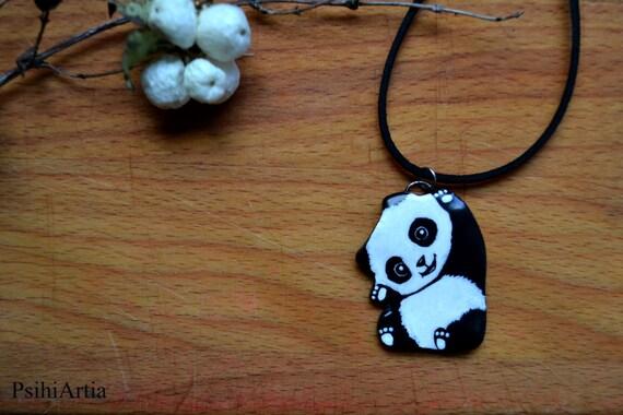Panda necklace Panda jewelry One of a kind necklace Panda pendant Polymer clay necklace Polymer clay jewelry Gift for her Handmade necklace
