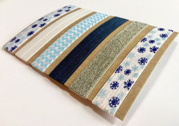 Holiday Hair Ties with Blue Snowflake