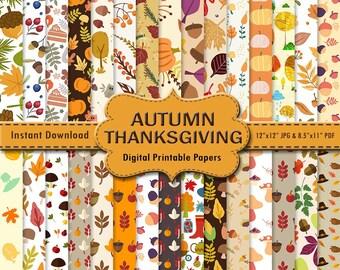 Thanksgiving Autumn Scrapbook Paper Pack 30 Orange Red Green Brown Printable Digital Paper Wrapping Leaf Leaves DOWNLOAD 12x12 JPG PDF