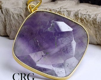 Gold Plated Faceted Square Amethyst Pendant (FC29DG)