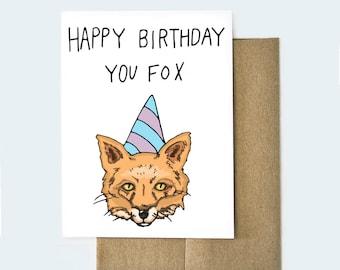 Fox Card | Funny Birthday Card | Card for Him | Birthday Card for Him  | Birthday Card Boyfriend