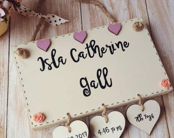 New Baby Plaque including Name, DOB, Weight and Time of Birth