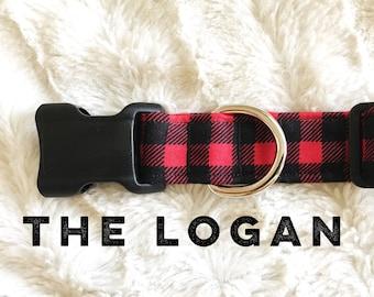 Dog Collar, Boy Dog Collar, Dog Collars, Plaid Dog Collar, Buffalo Plaid, Plaid Dog Accessory, Red Dog Collar, Quick Release Collar, Fabric