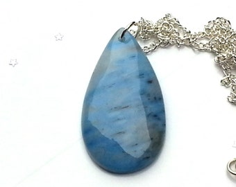 Blue agate pendant - agate necklace - gemstone pendant - blue necklace - gift for her