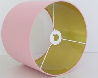NEW Handmade Brushed Gold Lined and Pale Pink Fabric Lampshade Lightshade