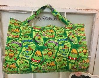 Nap Mat Cover with blanket, Kinder Pre-School Kindergarten daycare sleep mat, Ninja turtles, TMNT, orange minky blanket, READY to Ship
