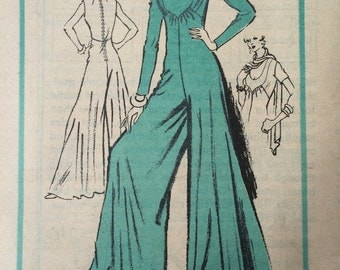 Fantastic Palazzo Jumpsuit and Scarf Designer Mail Order Prominent Designer Pattern A985 by Dominic Rompollo---Size 16  Bust 38  UNCUT