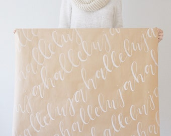 Christmas Gift Wrap || Hand-lettered || Brush Calligraphy || Hallelujah