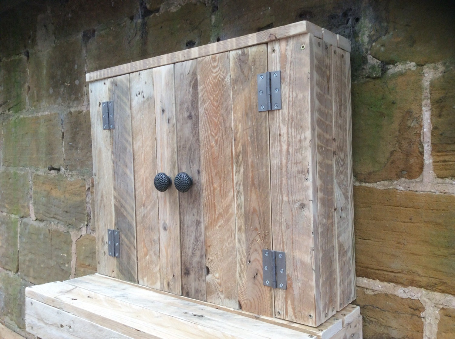 Rustic Wall Mounted Bathroom Cabinet Made From Reclaimed