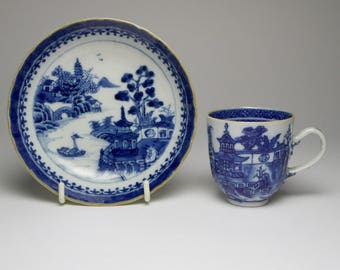Antique Chinese blue and white porcelain cup and saucer