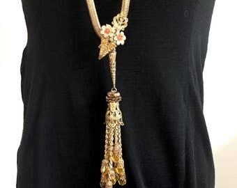 Serpentine Snake Necklace, Serpentine Belt, Gatsby Tassel Necklace,