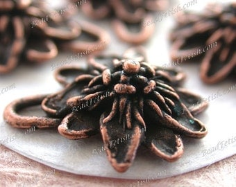 Antique Copper Passion Flower Lead Free Pewter Vintage Style Charm Pendant, Made in USA Copyright © Protected, KF Signature Series ~ K4 AC