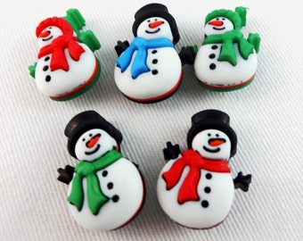 Snowman buttons, set of five, colorful embellishments for sewing and scrapbooking projects.