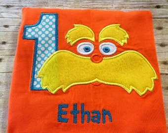 Lorax Fuzzy Face Personalized Birthday Shirt