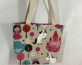 Small Cotton canvas unicorns, castles, princess tote bag, magnetic bag, small shopping bag, book bag, small project bag,mini tote, girls bag
