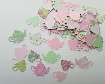 Tea Party Confetti Shabby Chic Floral Pink & Green - Set of 100 - Teapot, tea cup, Party Decor, Table Confetti, Bridal Shower