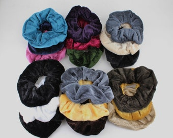 pack of 3 soft velvet velour fabric stretch ponytail holders scrunchies scrunchy hair ties Fall Colors