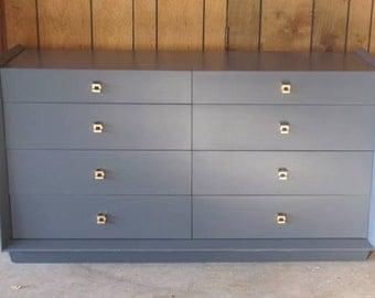 SOLD - Gravel Gray Mid-Century Dresser