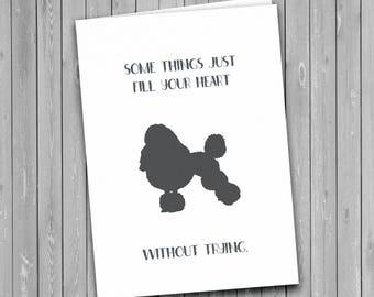 Poodle card, Poodle print, dog card