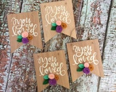 You are Loved sign, Felt Flower Signs, Wood Art, Wood Wall Art, Wooden Banner, Wooden Signs, Banner Sign, banner, small banner sign