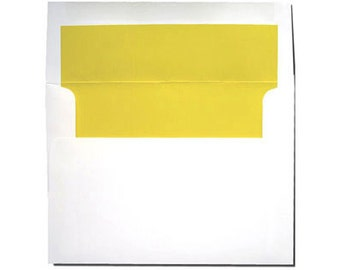 20 A7 White with Bright Sun Yellow Lined Envelopes
