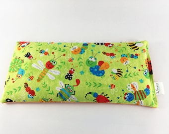 Hot Cold Corn Bag for Kids, Green, Orange, Multi-Colored Bugs, Corn Bag, Small