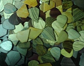 15 Pack Exotic Guitar Picks Random Wood Types Starter Assortment