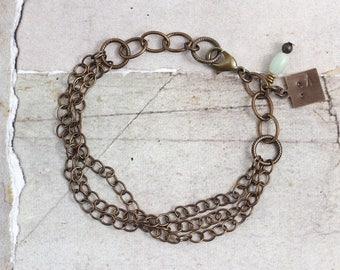 Multi chain bracelet Solid brass bracelet Oxidized brass jewelry Stacking bracelet with chains Oxidized metal bracelet Brown bracelet
