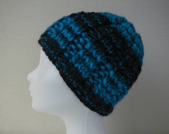 Hat black blue teen warm comfortable winter chunky knit hat knit in round thick and thin woolen acrylic effect yarn teen hat lana grossa