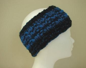 Ear warmer black blue teen warm comfortable winter chunky headband knit in round thick and thin woolen acrylic effect yarn teen head band