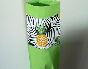 Pineapples plastic bag holder. Handmade.