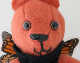 12-inch Orange and Black Monarch Butterfly Teddy Bear With Real Butterfly Wings