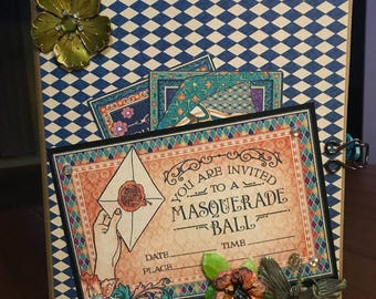 "Handmade scrapbook album 7x9x3 ""Midnight Masquerade"""