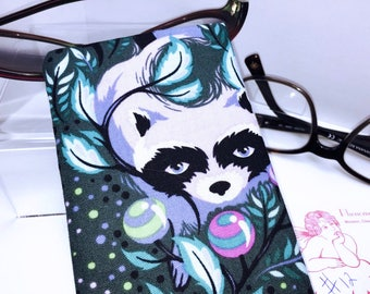 Glasses Case, Tula Pink Raccoon Fabric RARE Acacia Eyeglasses Case, Sunglasses Case, Eyeglasses Pouch, Slip Style