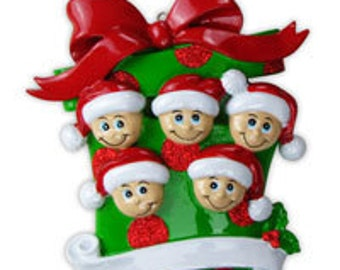 Personalized Present Family of 5 Holiday Ornament