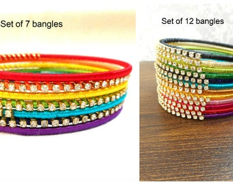 Indian bangles with multi color thread and rhinestones from Bollywood bangles India.