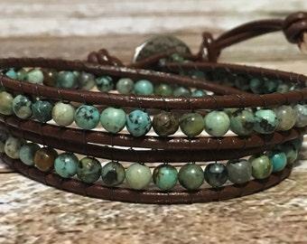 Chan Luu Style Bracelet / African Turquoise Jewelry / Boho Bracelet / Leather Wrap Bracelet / Bohemian Jewelry / Chan Luu Bracelet