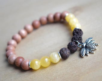 BEE STRONG // Yellow Jade Bracelet / Save the Bees / Yoga Bracelet / Essential Oil Diffuser Bracelet / Meditation Bracelet / Aromatherapy